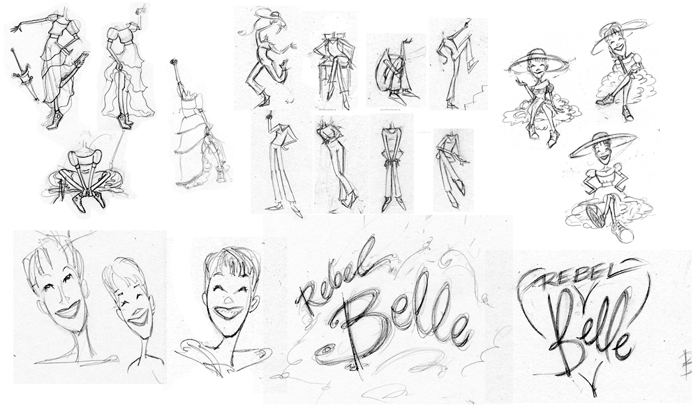 Logo sketches and character sketches for The Rebel Belle