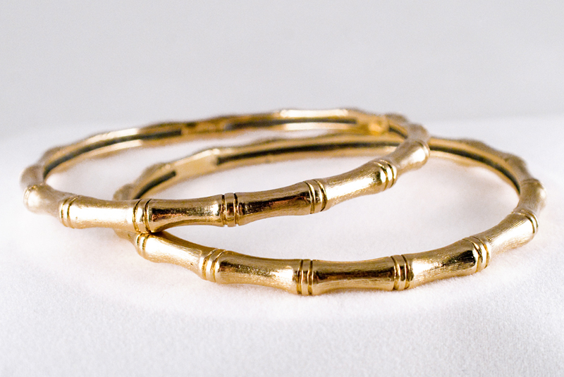 Solid Gold Bamboo Bangles