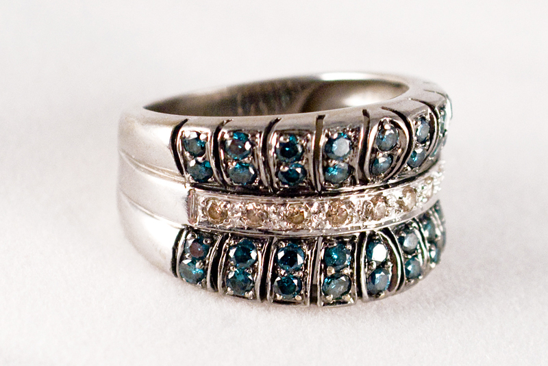 Blue and Champagne Diamond Ring