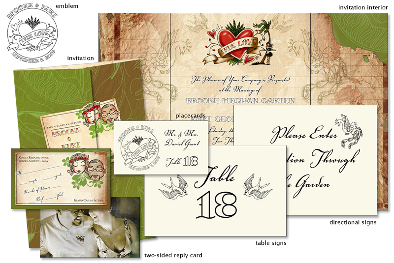 Hawaiian wedding invitation suite