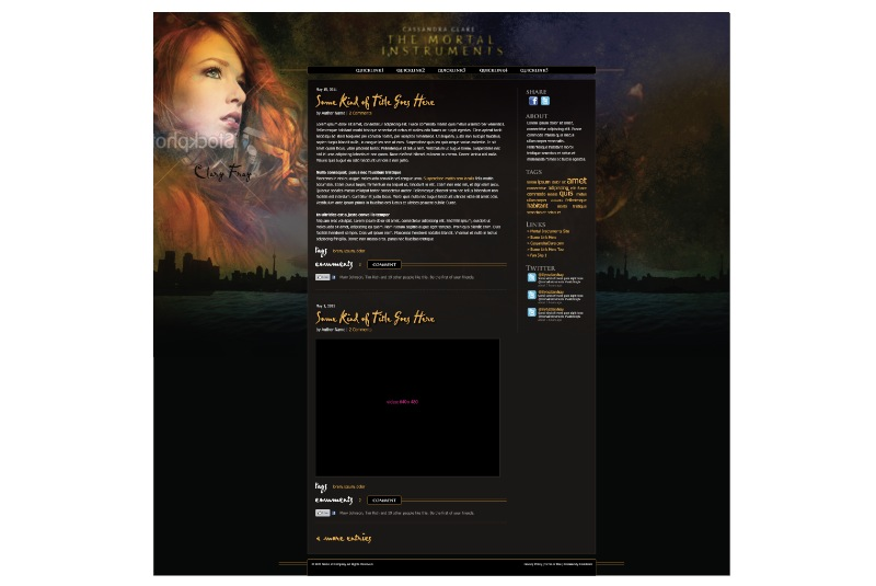 Mortal Instruments Movie Wordpress Theme