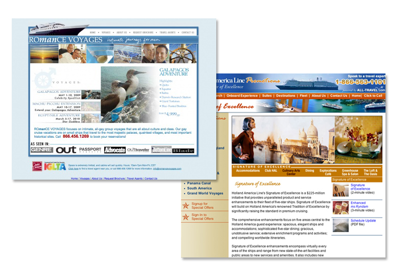 Suite of travel agency websites